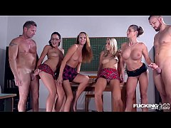 HD Fucking in glasses with Christen Courtney & Angel Blade during school hours