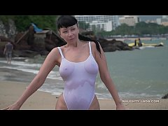 White one-piece transparent when wet swimsuit