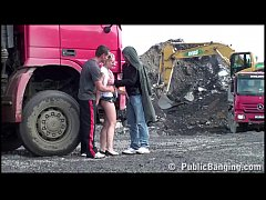 Construction site PUBLIC gangbang with a young pretty girl