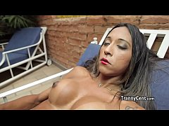 Mature muscular tranny jerks solo