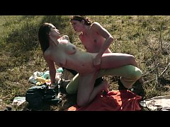Busty babe Audrey Rose takes it hard from her partner Kara Price's strap-on outdoors