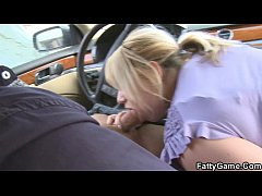 Hot blonde plumper lures him into bed