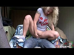 Bitch STOP - Curly blonde teen Veronika fucked in garage