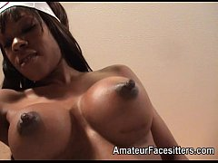 Long nippled black lady facesits an older man