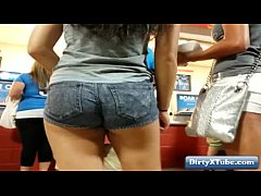 Latin teens nice ass in the store hidden cam
