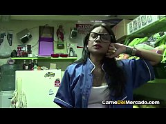 CARNE DEL MERCADO - Tattooed Latina teen gets fucked and cummed on her glasses