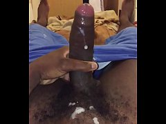 Horny black guy jerking