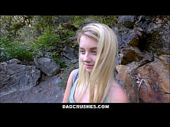 cute petite and shy tiny teen stepdaughter riley star sucking stepdads huge cock while hiking in the woods pov