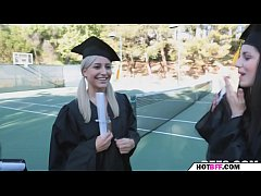 college babes experience lesbian sex in their graduation