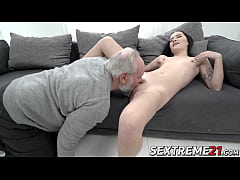 Barely legal hottie dicked by lucky grandpa