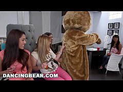 HD DANCING BEAR - Wild Bitches Have A CFNM Party In The Back Of Hair Salon