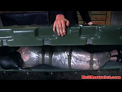 Foil wrapped sub fucked and electro punished