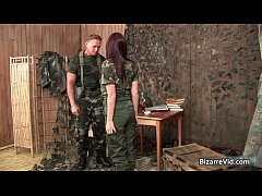 Two hot sexy horny army slut gets