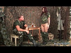 Hot army chick gets spanked