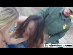 Two teens got caught in border patrol threesome sex