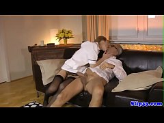 Stockinged euro doggystyled in british trio