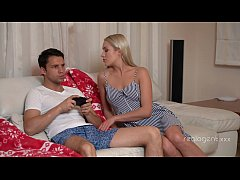 Blonde babe Angelika Grays fucks her boyfriend while he plays video game