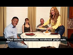 bangbros - cougar richelle ryan treats young black guy to dinner serves watermelon fried chicken and cornbread
