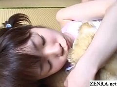 Pale Japanese teen with long legs stripped and groped while grasping teddy bear with Subtitles