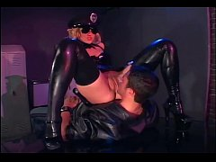 Uniformed female cop fucking in latex lingerie