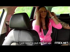 Brunette teen pays the taxi with blowjob
