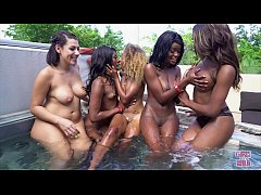 GIRLS GONE WILD - Young Ebony Lesbians Enjoying Each Other At Pool Party