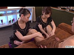JAV CFNM massage featuring two beautiful clothed masseuses sensually caressing the inner thighs and erection of an increasingly exposed and horny client in HD with English subtitles