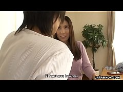 Japanese cougar, Mirei Yokoyama gives a balls deep blowjob, uncensored
