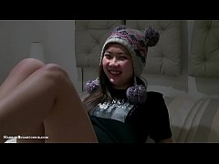 1st double penetration for busty Asian teen
