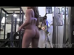 Fit Naked Muscle Blonde Stretches in the Gym