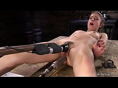 Stunning solo brunette babe Kristen Scott with spreaded legs masturbates with vibrator then in rope bondage takes fucking machine