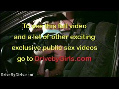 PUBLIC gangbang of a cute blonde teen girl through a car window