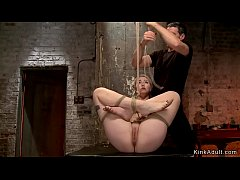 Hogtied sub caned and vibed in dungeon