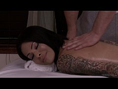 TS Foxxy fucked on the massage table