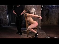 Gagged and hogties sub in chair