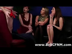 British Femdom milf and girls laugh at amateur CFNM guys cock