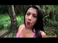 Curvy latina tgirl pounded with dick