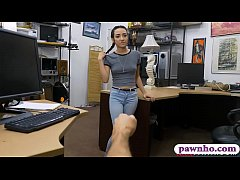 Slutty teen screwed by pervy pawn keeper in his office