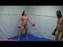 Nude Boxing and Wrestling ft. Cheyenne Jewel and Male Opponent