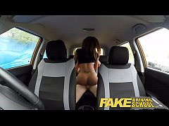 Fake Driving School young ebony enjoys creampie for free lessons