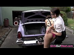 Abducted lesbian gets licked on the car