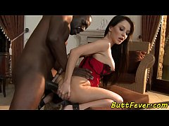Anally pounded babe loves big black cock