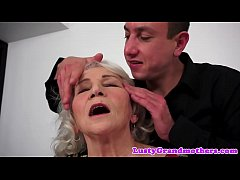 Cocksucking granny tittyfucked by big cock