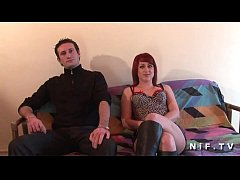 French redhead gets banged on the sofa