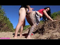 BIG TIT Fat ASS Shaking Milf Gets Fucked Hard and Rough In PUBLIC For a Long Time In The Bush On The Sand Wearing a Short Skirt - Melody Radford