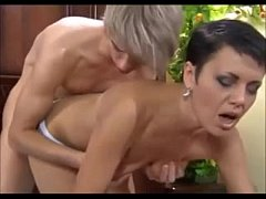 Cute shorthaired russian mom with boy