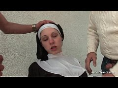 Clip sex Young french nun fucked hard in threesome with Papy Voyeur