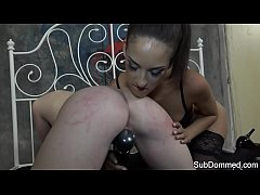 Lesbian femdom flogging submissive babe