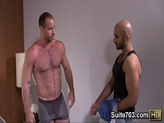 Lusty gays Alex and Girth kiss and fuck their asses only on Suite703