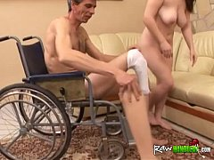 Handicapped dude in wheelchair gets dick sucked by chubby and horny brunette1
